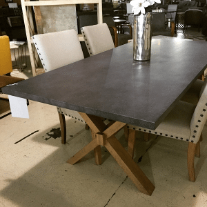 Zinc Table Wooden X Base
