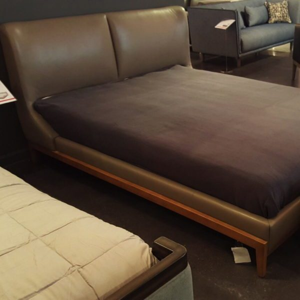 Queen Leather Platform Bed
