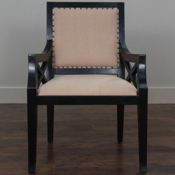 Beautiful Beige Upholstered Chair with Black Wood Arms