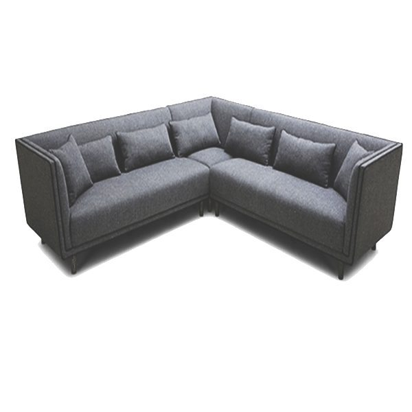 Blue Grey Leather Modern Sofa Sectional Stainless Steel Legs