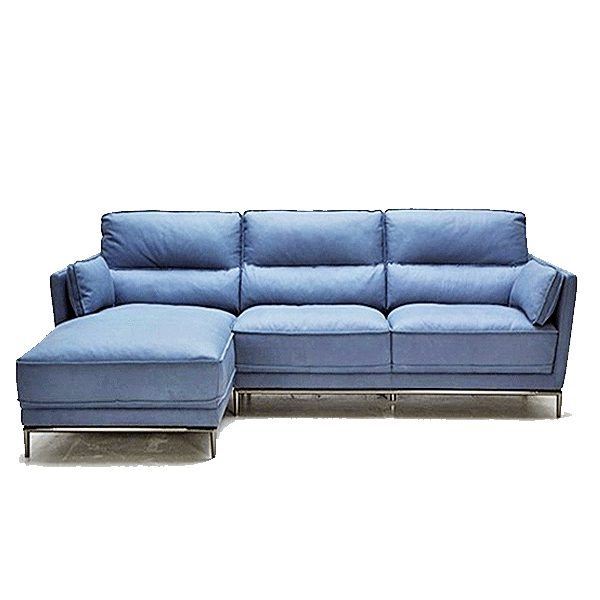 Exclusive modern blue leather sectional sofa home the for Blue leather sofa