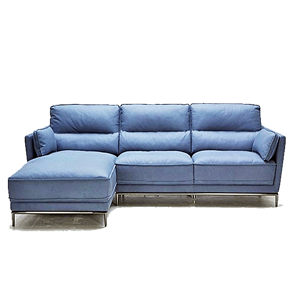 Juno leather sectional horizon home furniture for Blue leather sofa