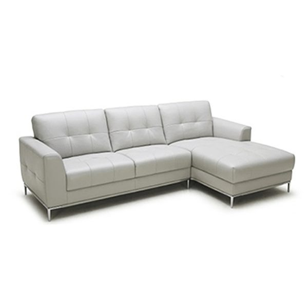 Contemporary White Leather Sofa With Polished Steel Base