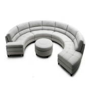 Curves White Leather Sectional