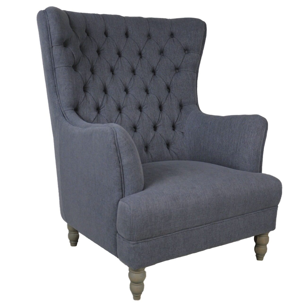 Stockwell Button Tufted Oversized Wing Back Club Chair.