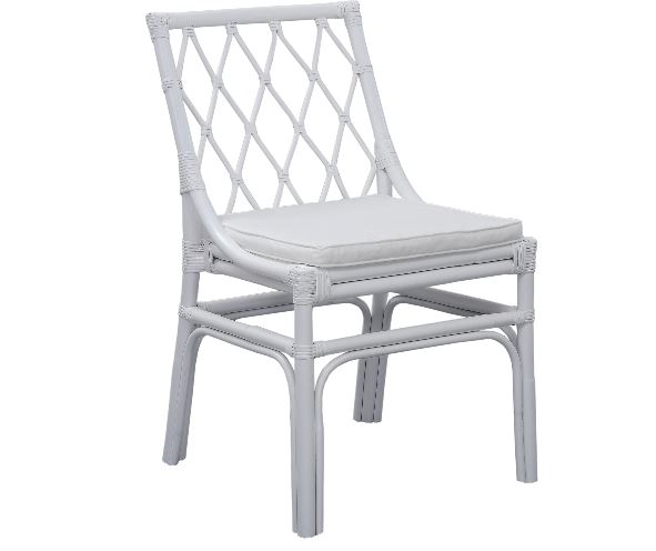 White Wood Side Chair with Cushion