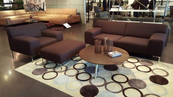 Brown Upholsered Sofas with Ottoman