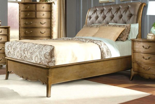 Chambord Gold Sleigh Bed