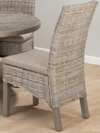 Burnt grey kubu rattan dining chairs with linen cushion