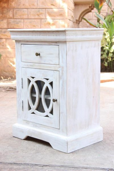 White wash Cabinet with Glass door