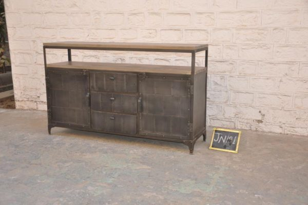 Industrial Metal Wood Sideboard