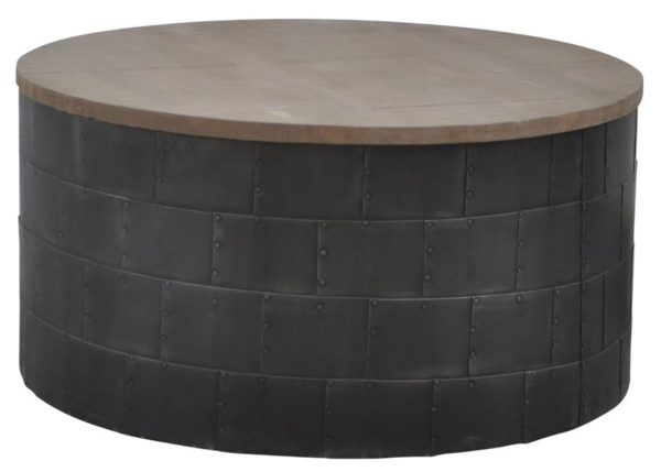 Round Side Table/Ottoman with wood top finish