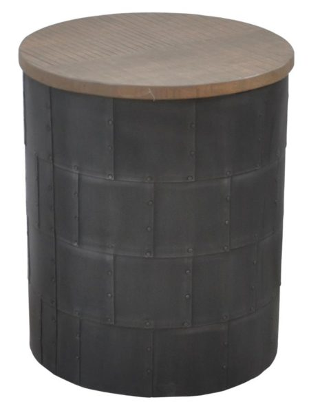 Round Side Table with wood top finish