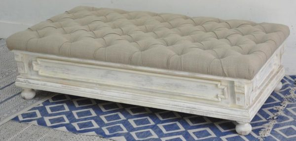 Grey Ottoman with white wash finish bottom