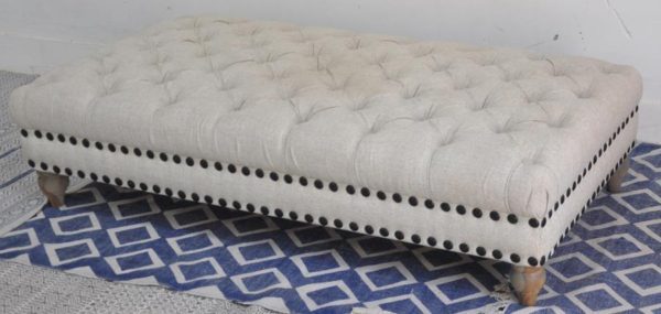 White Upholstered Ottoman with wood base