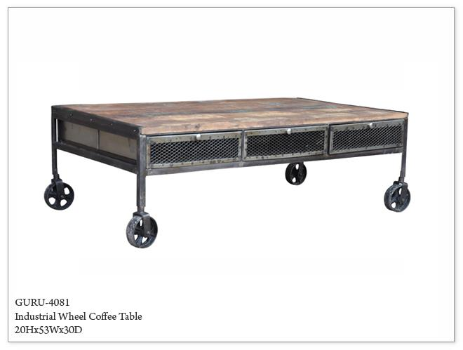 Guru Industrial Wheeled Coffee Table Horizon Home Furniture
