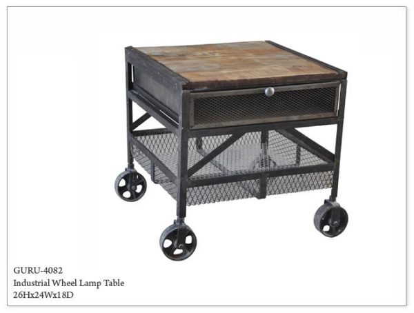 Industrial Wheel Lamp End Table_Night Stand