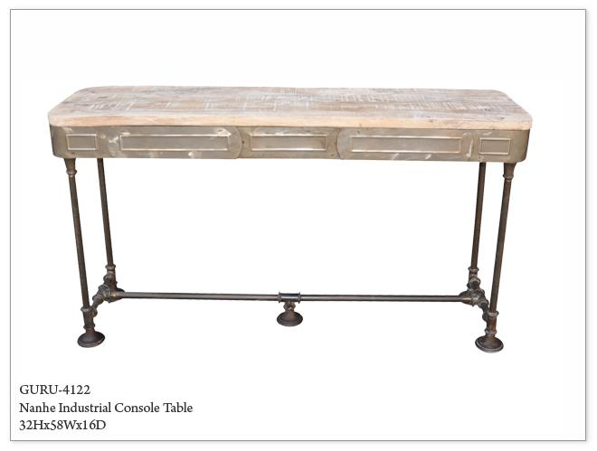 Industrial Metal And Wood Console Table