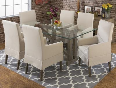 Glass Top Wood Base Dining Set