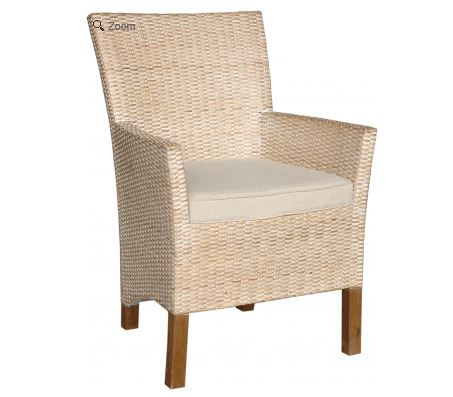 Woven Dining Arm Chair with Cushion