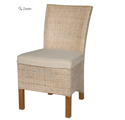 Woven Side Chair with Linen Cushion