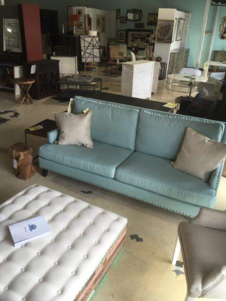 Harmony Light Blue Sofa with Nail Head Trim