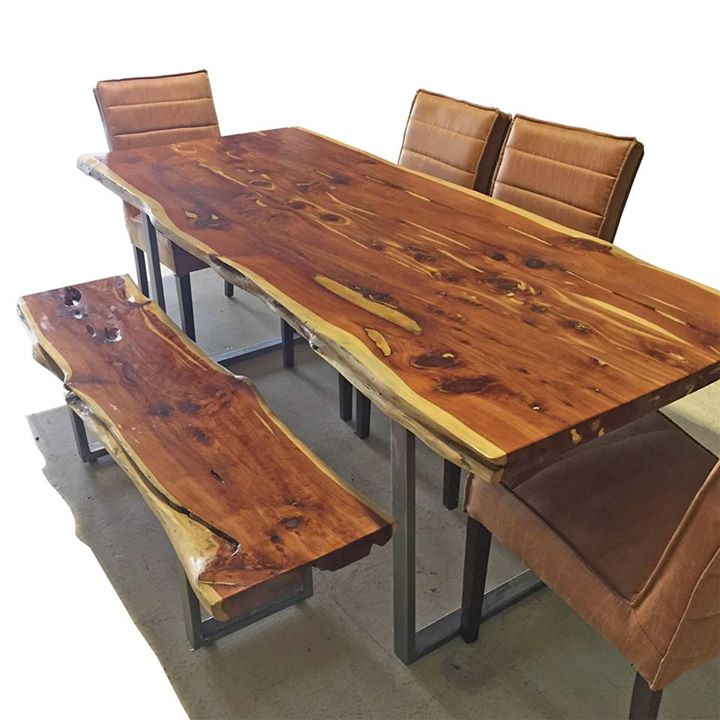 Live Edge Dining Table And Matching Bench Horizon Home Furniture