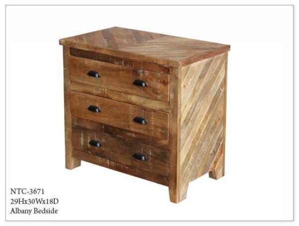 Wood Nightstand Rustic Finish