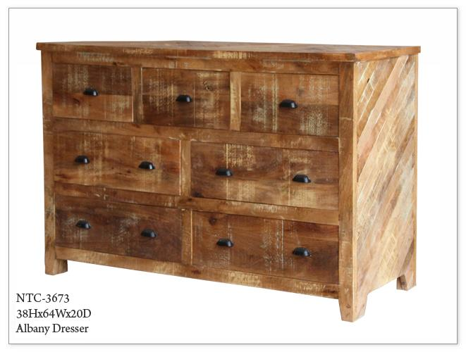 Albany Dresser Albany Wooden Seven Drawer Dresser In Rustic Finish Sku