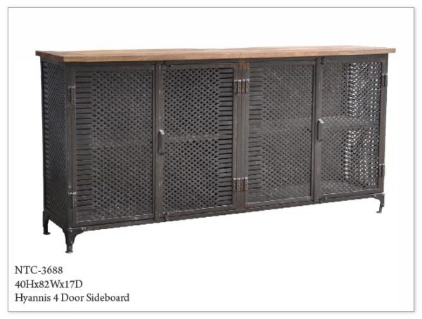 Four Metal Mesh Door and Wood Sideboard