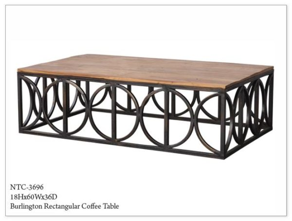 Wood Coffee Table Metal Base