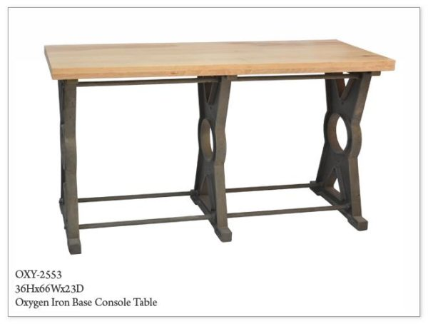 Wood Top Iron X Base Console Table