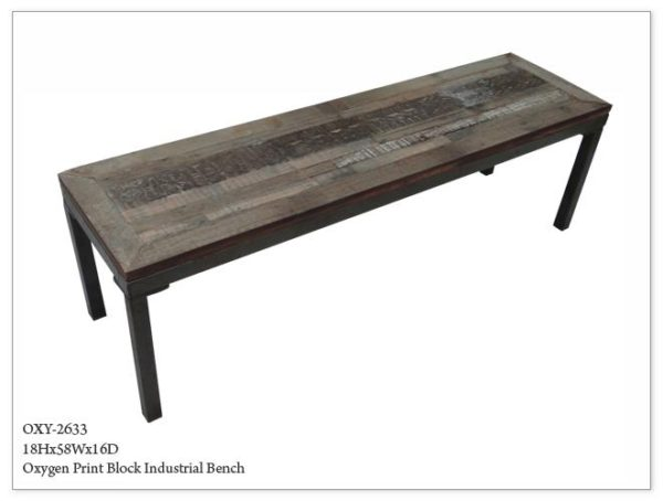 Rustic Industrial Wood Bench Atlanta