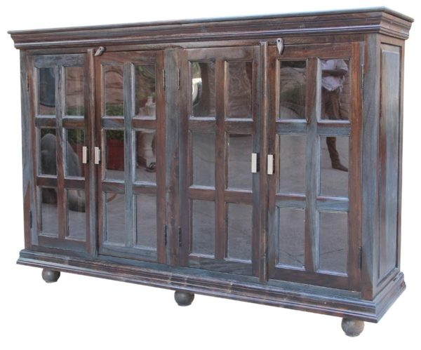 Wood and Glass Cabinet Sideboard