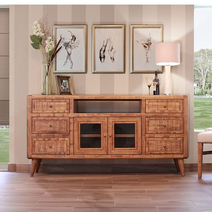 retro media cabinet light wood horizon home furniture. Black Bedroom Furniture Sets. Home Design Ideas