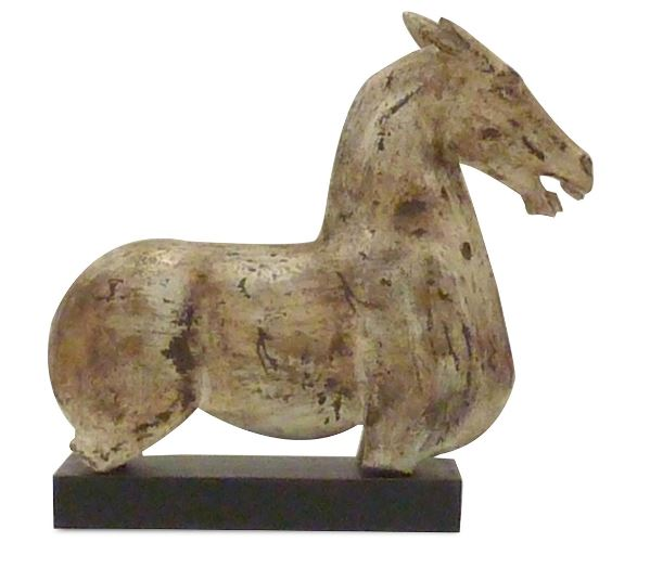 Antique Stone Horse Statue with Wood Base