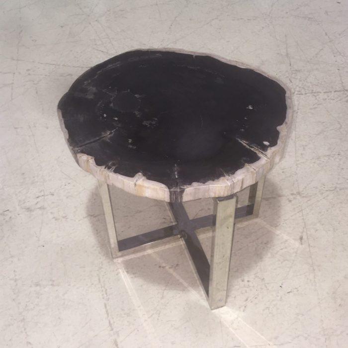 black petrified wood table