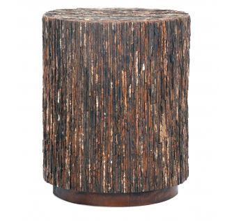 Wooden Bark Round Side Table