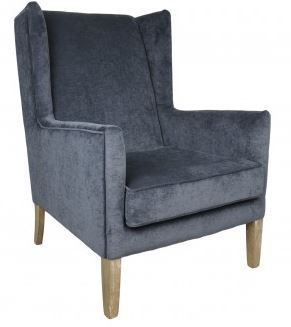 Jeffan Blue Upholstered Straight Wing Back Club Chair