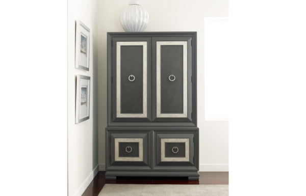 Armoire with Moonstone Finish and removable jewelry tray and cord access