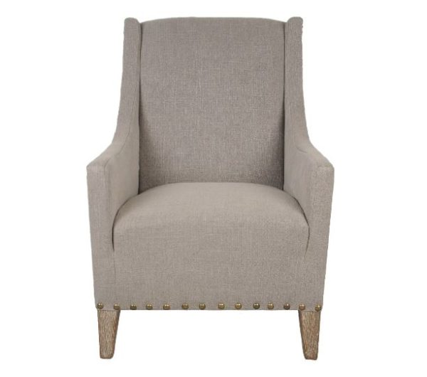 Upholstered Taupe Winged Back Chair with Nailhead Trim