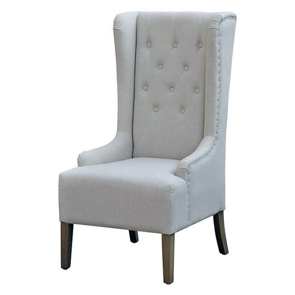 High Back Upholstered Tufted Winged Occasional Chair