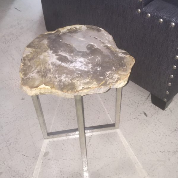 Petrified Wood Table Grey and Cream