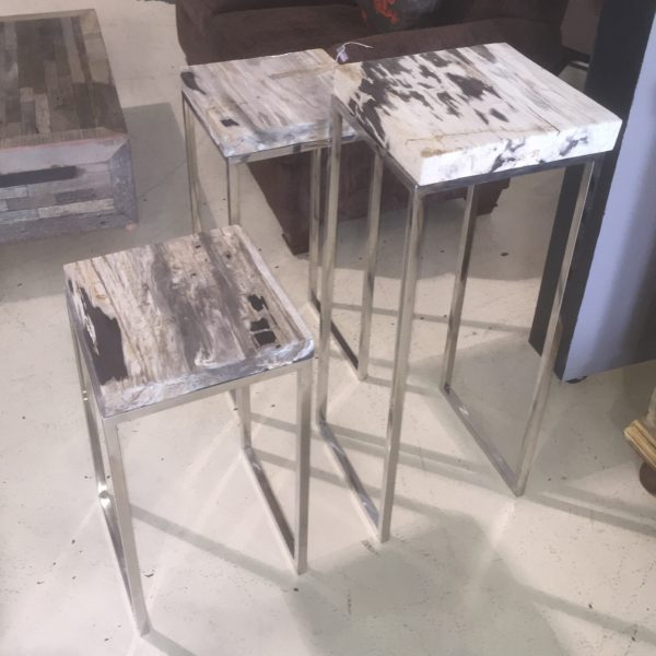 Grey and White Petrified Wood Pedestals