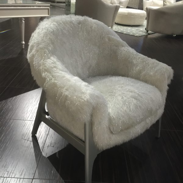 Mandy White Shimmer Fur Chair with Silver Base