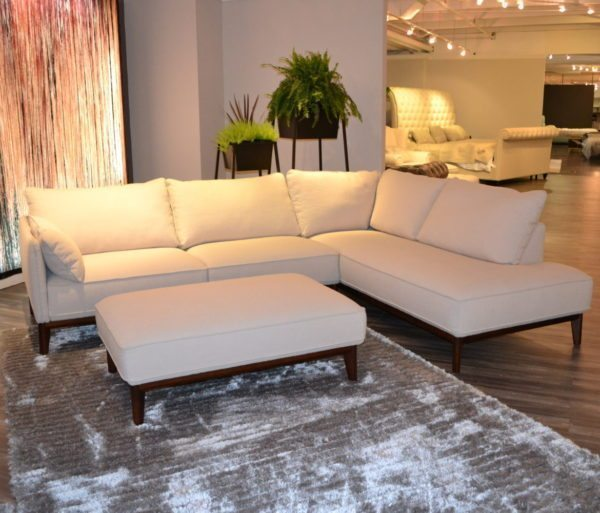 Classic White Ivory Upholstered Sectional With Matching Rectangular Ottoman