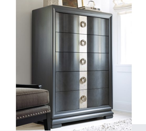 Five Drawer Dark Grey Drawer Chest with Circle Hardware
