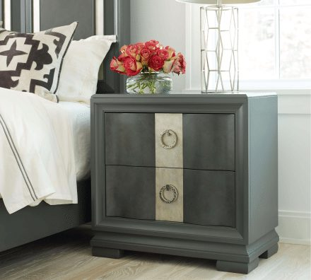 Two Drawer Dark Grey Moonstone Finish Nightstand