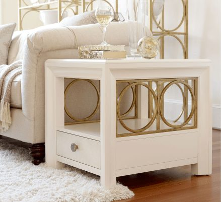 One Drawer One Shelf End Table in Pearl Finish with Gold Circular Accents
