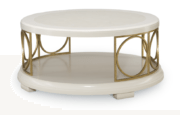 Round Cocktail Table in Pearl Finish with Gold Circle Accents